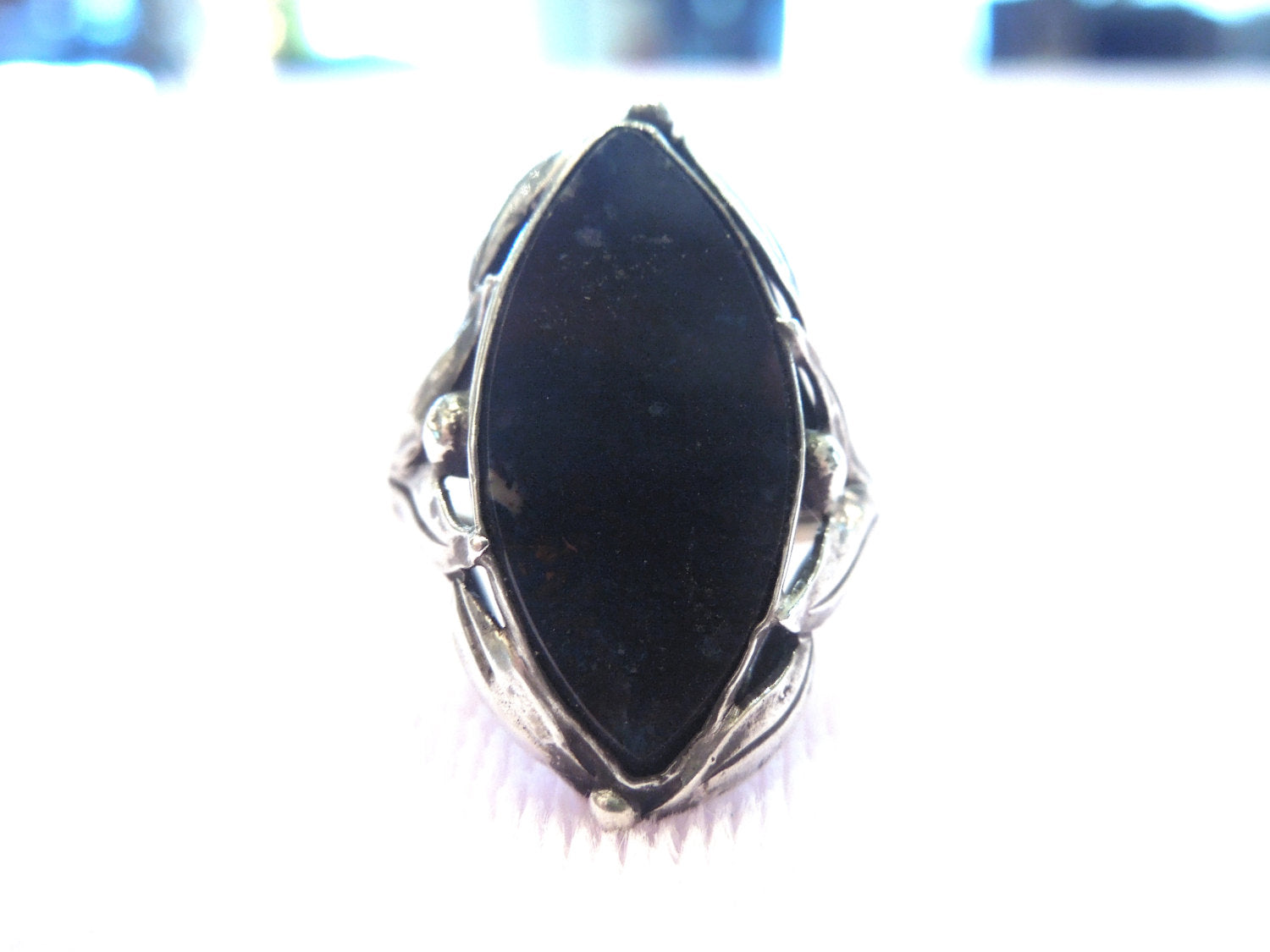 Marquise Cut Onyx and Sterling Silver Ring