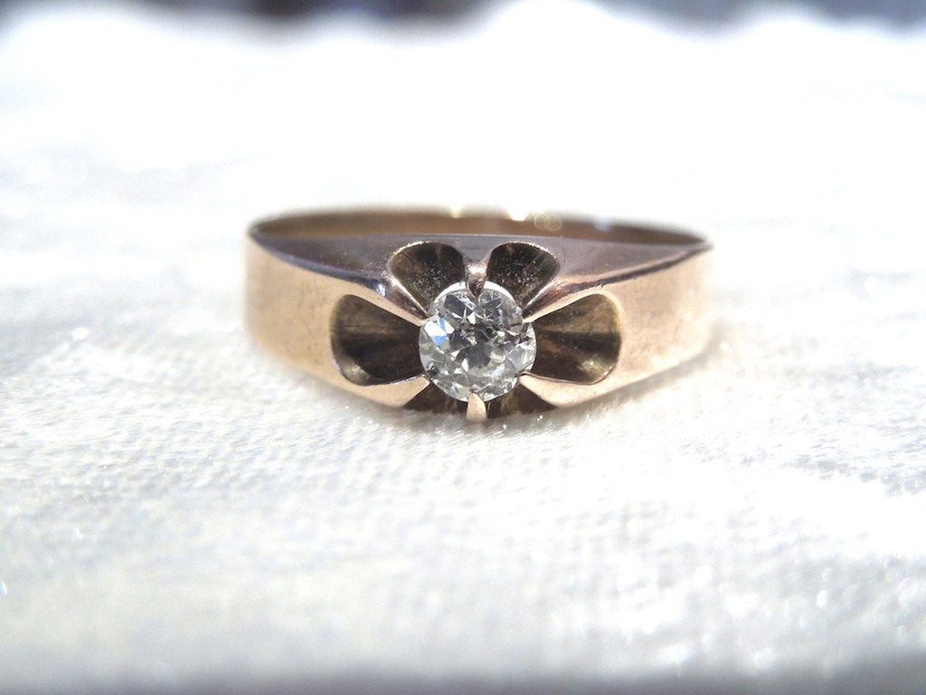 Yellow Gold Victorian Quarter Carat Diamond Ring