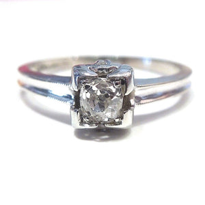 Vintage .25ct Old Mine Cut Diamond in White Gold Engagement Ring