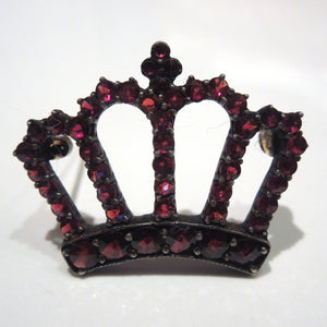 Victorian Bohemian Sterling and Gold Garnet Crown Pin