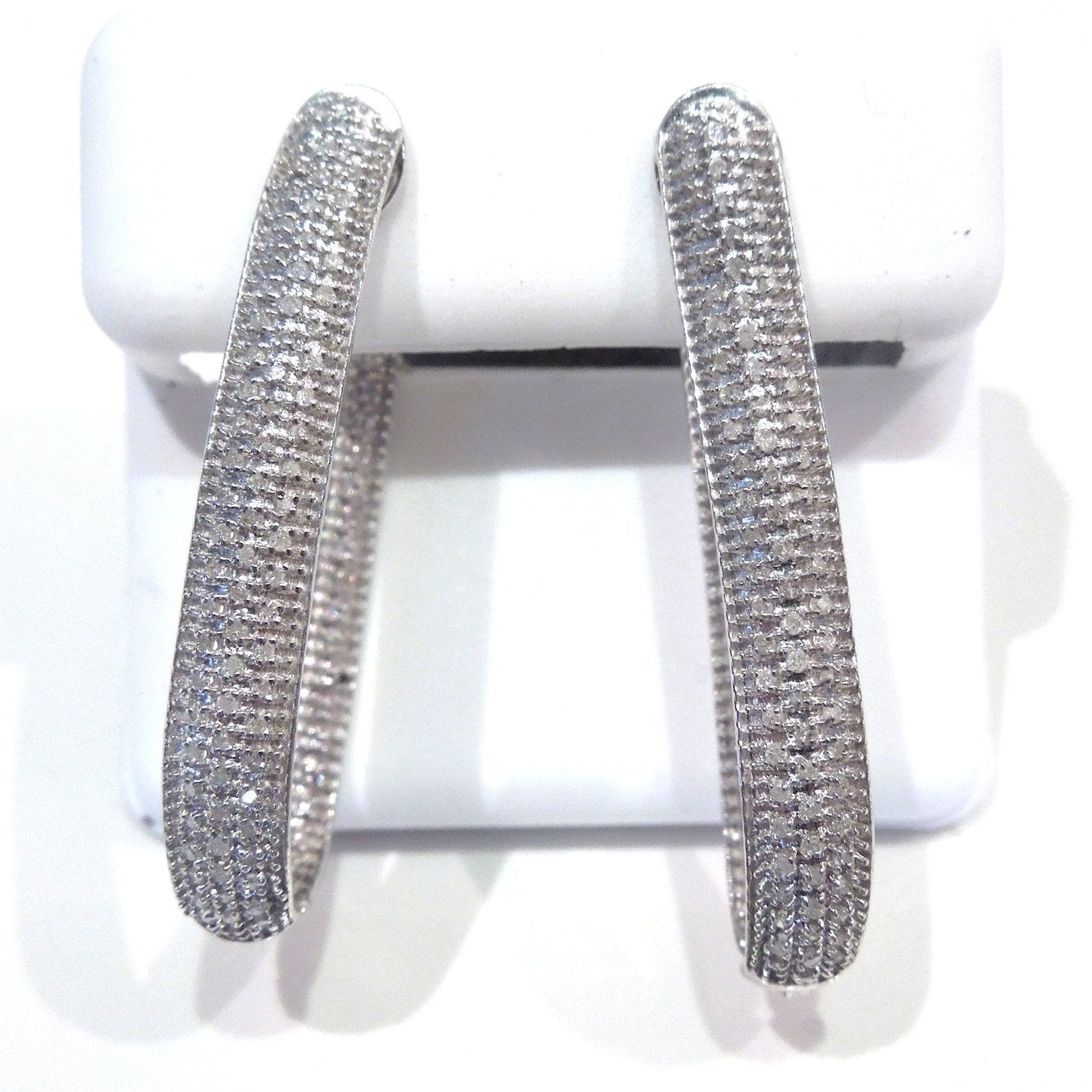 Sterling Silver and Oblong Diamond Hoop Earrings