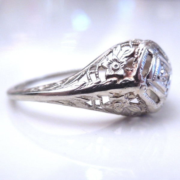 Charming Art Deco Filigree and Diamond Ring in White Gold