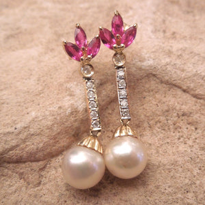 Pearl Earrings in 14K Yellow Gold with Diamond and Ruby