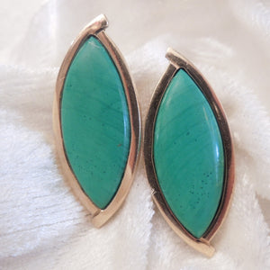 Marquise Shaped Jade Earrings in 14K Gold Bezel