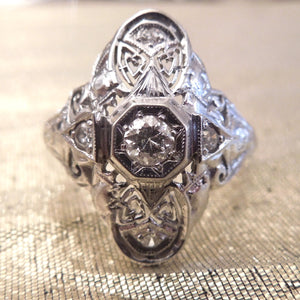 Large Diamond and White Gold Navette Ring - Art Deco - 1920s