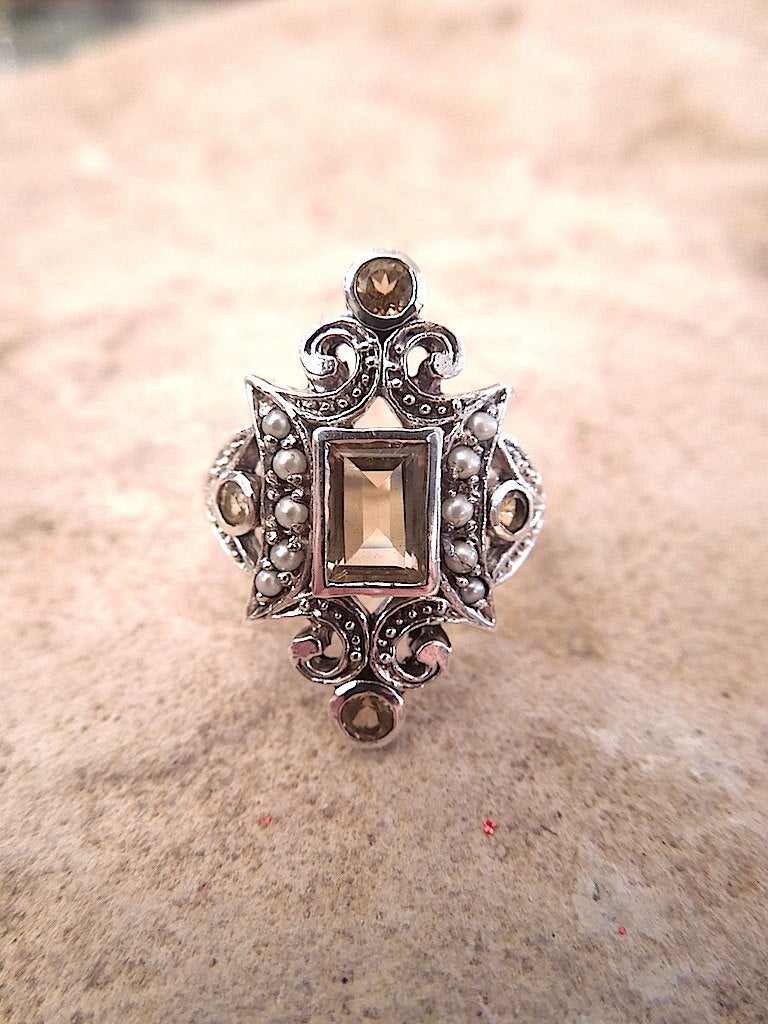 Art Deco Style Sterling Silver Ring w/ Seed Pearl - Citrine