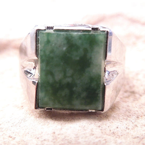 Square Moss Agate in Sterling Silver Mounting