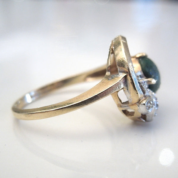 Yellow Gold Jade and Diamond Ring - Florentine Finish