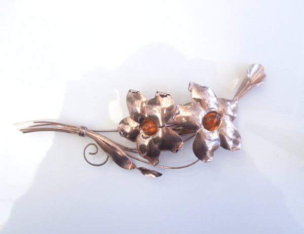 Vermeil Flower and Orange Gem Brooch - Pin