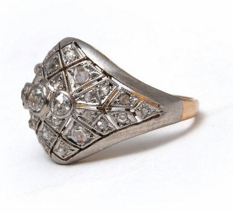 Vintage Platinum and Yellow Gold Diamond Ring