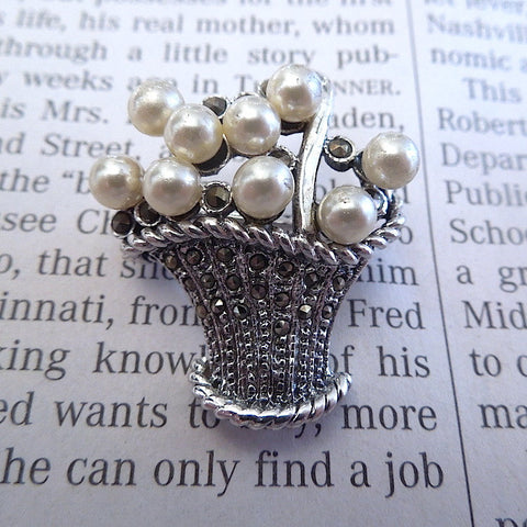 Sterling SIlver and Pearl Flower Basket Brooch Pin