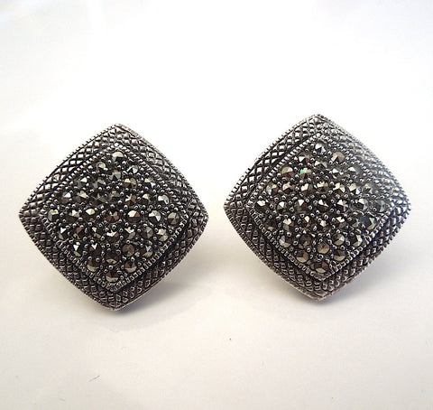 Sterling Silver and Marcasite Square Clip Earrings