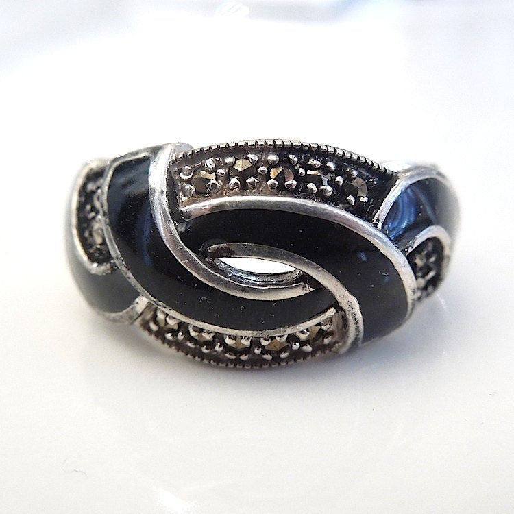 Sterling Silver and Black Enamel with Marcasite Swirl Ring