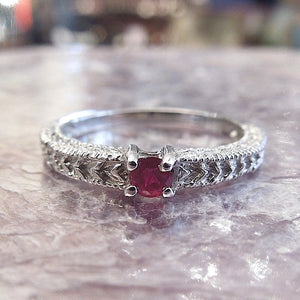 CUSTOM ORDER: Art Deco Style 14K Gold Band - Green Sapphire, Ruby