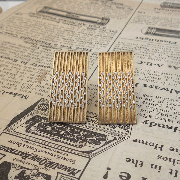 Christo Kiffer 18K Yellow Gold and Diamond Channel Set Earrings