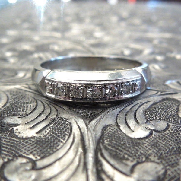 18K White Gold and Diamond Men's Band