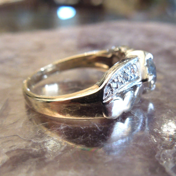 Bicolor Gold Engagement Ring - 1980s - Old Mine Cut Diamond - Half Carat