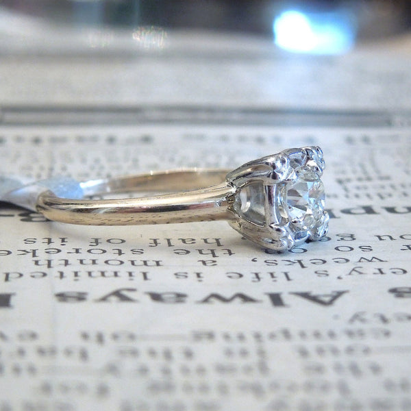 Mid Century Half Carat European Cut Diamond Solitaire  Ring