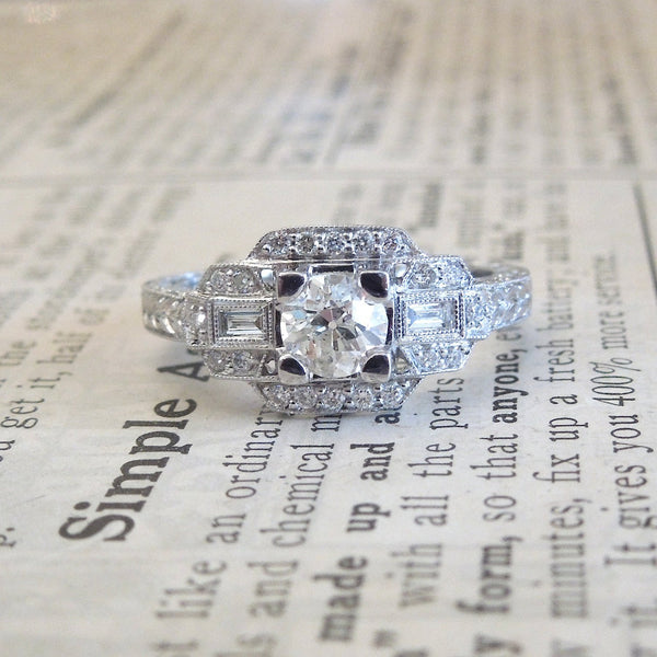 CUSTOM ORDER: Half Carat Diamond and White Gold Art Deco Style Engagement Ring