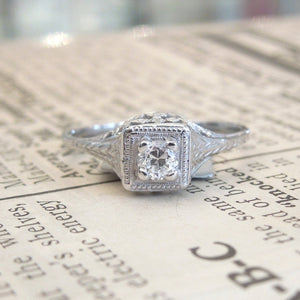 Art Deco Diamond  Filigree Ring with Old Cut Stone