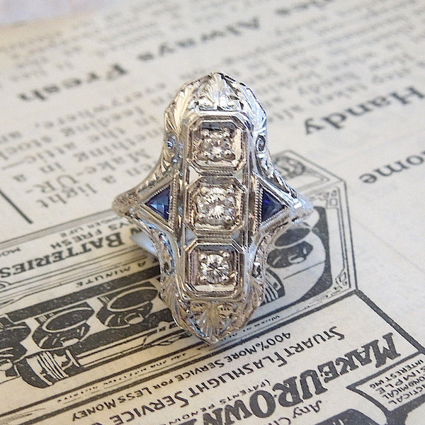 Art Deco - 18K White Gold - Half a Carat Diamond and Sapphire Navette Engagement Ring
