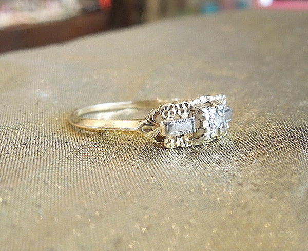 Yellow and White Gold Diamond Engagement Ring