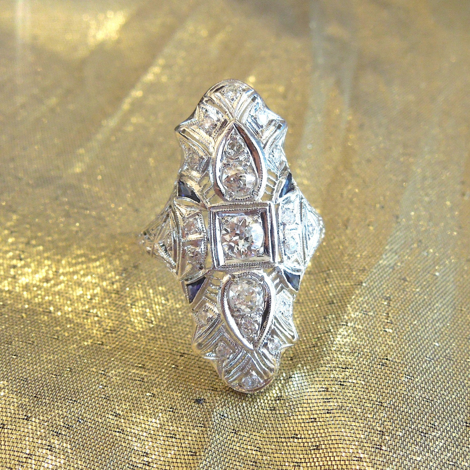 Art Deco Diamond and Sapphire Platinum Navette Ring