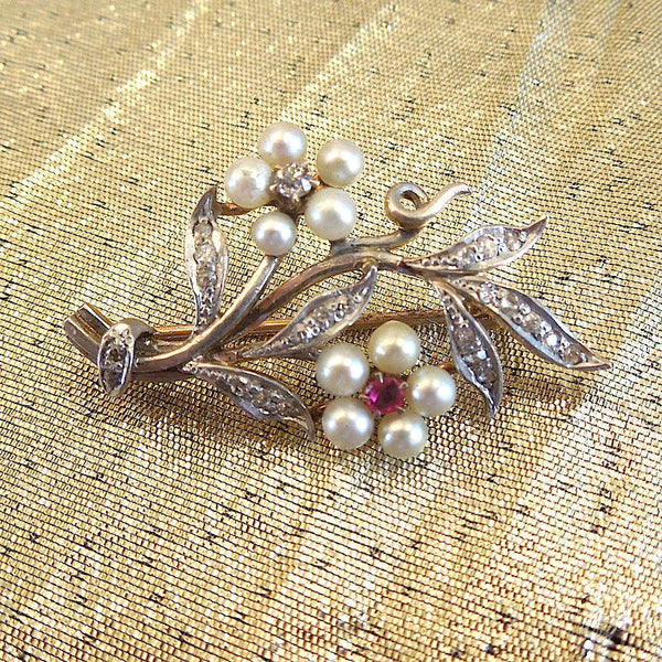 Vintage Gold, Diamond, Pearl, and Ruby Flower Pendant - Brooch