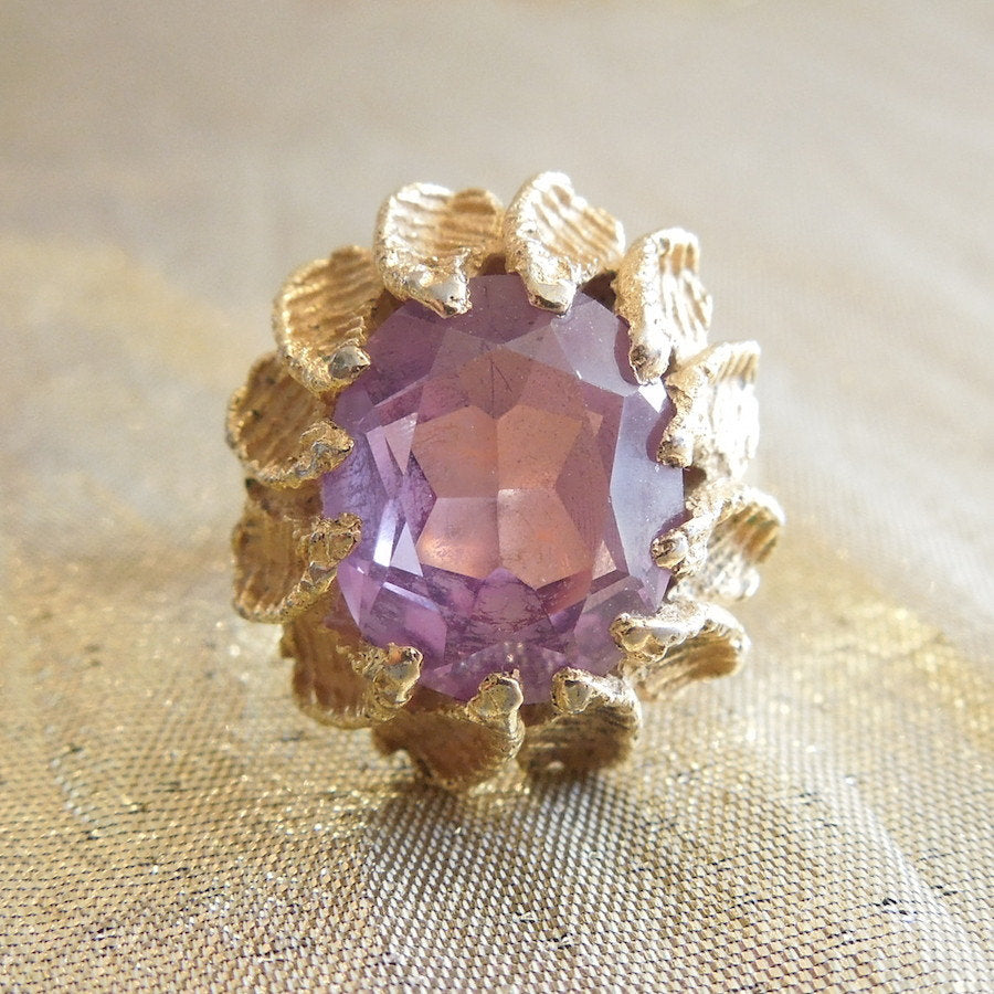 Large Oval Amethyst in Substantial Gold Ring
