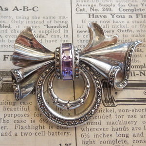 Sterling Silver Marcasite and Amethyst Bow Brooch