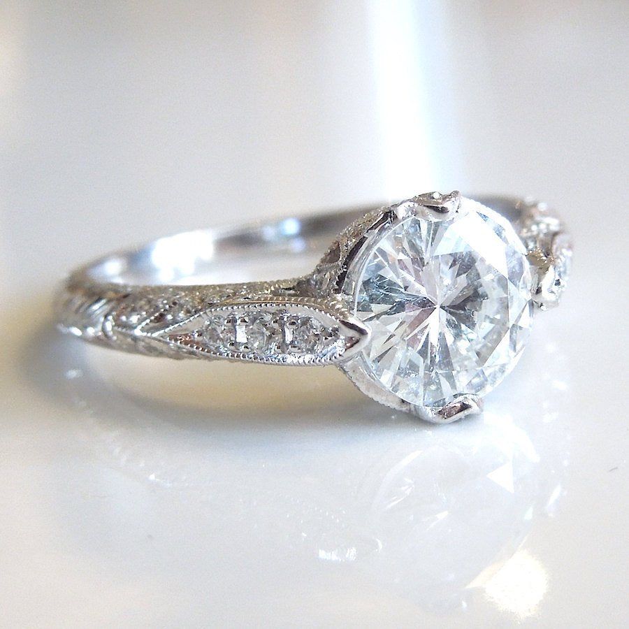 Custom Art Deco Style 1 ct Diamond Engagement Ring in White Gold