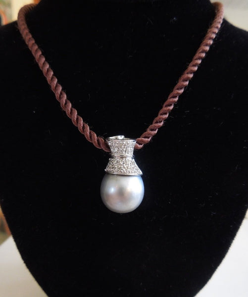 White Gold and Diamond Black South Sea Pearl Pendant