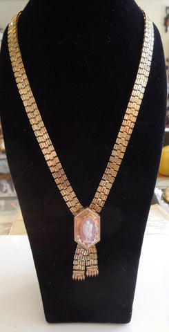 Gold Victorian Cameo Gate Chain Necklace with Tassles