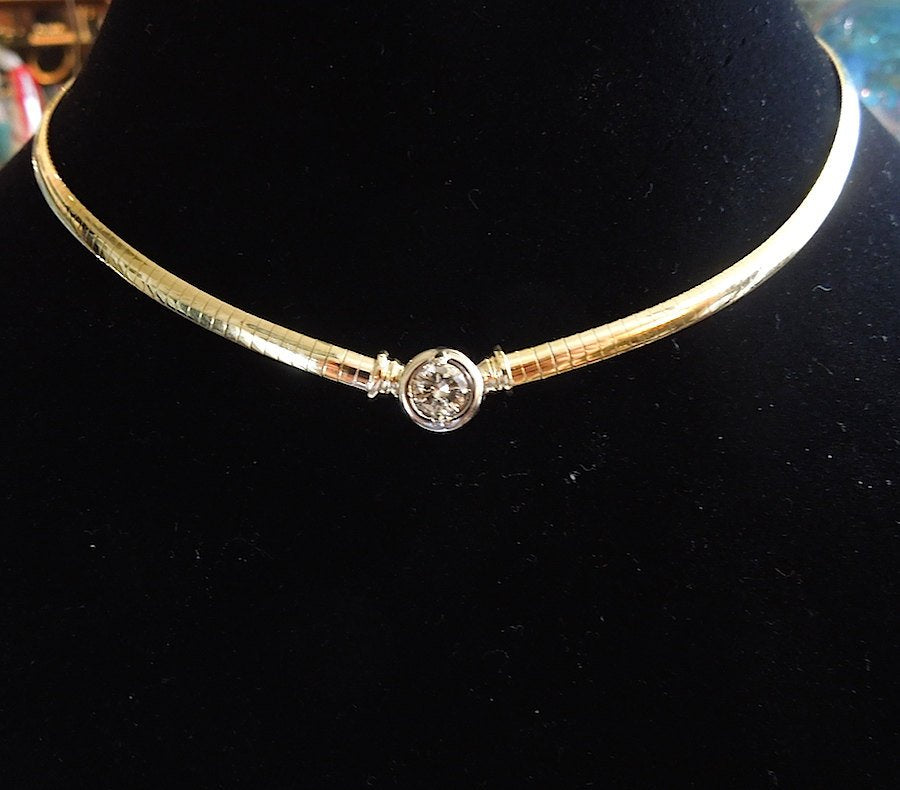 Italian 14K Yellow Gold Necklace - 1 ct Diamond
