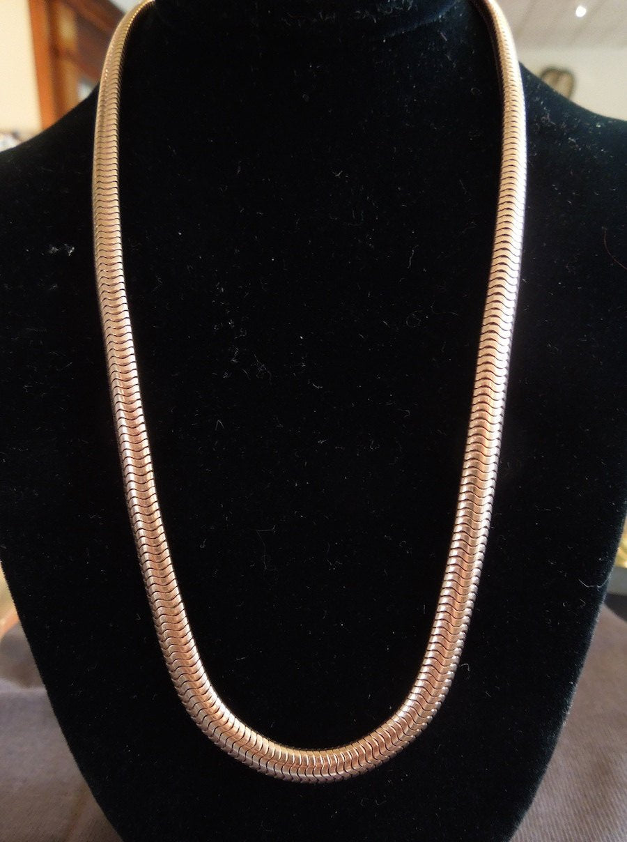 14K Pink Gold Retro Snake Chain Necklace w/ Fold Over Clasp