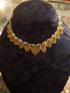 Yellow Gold Carved Citrine and Semiprecious Bead Necklace