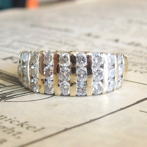 Wide Retro Channel Set Diamond Band in Yellow Gold
