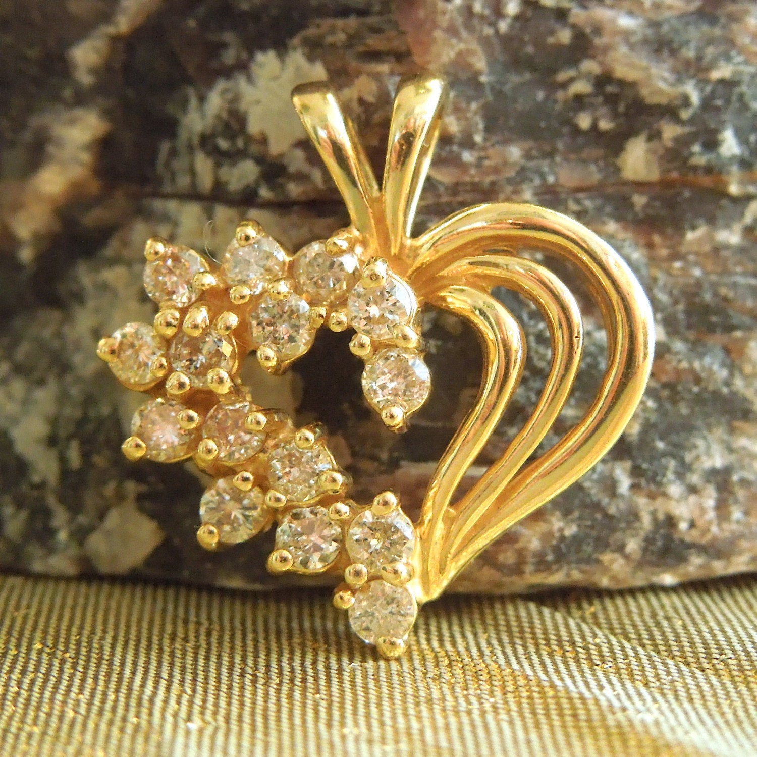 1980s Diamond and 14K Yellow Gold Heart Pendant