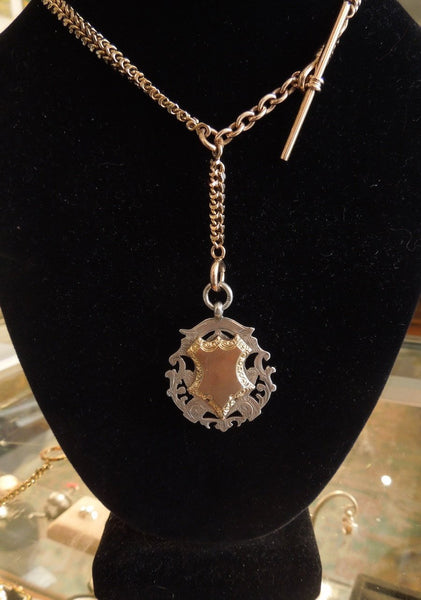 Turn of the Century English Fob Pendant Sterling Silver and Gold