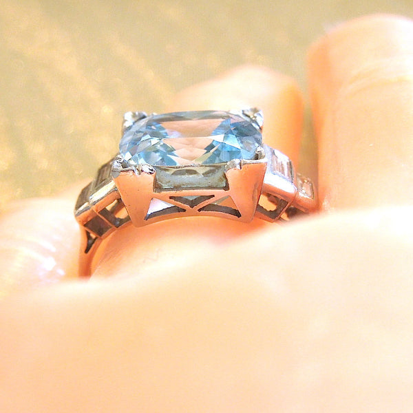 CUSTOM ORDER: Art Deco Cushion Cut Aquamarine in Platinum with Baguette Diamonds Ring