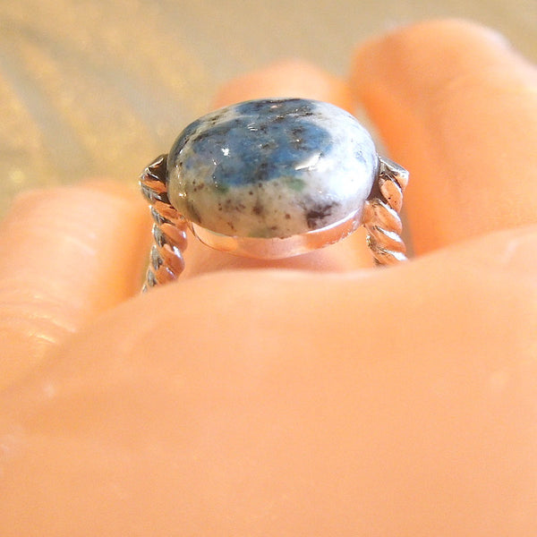 Azurite in Quartz in Sterling Silver Ring