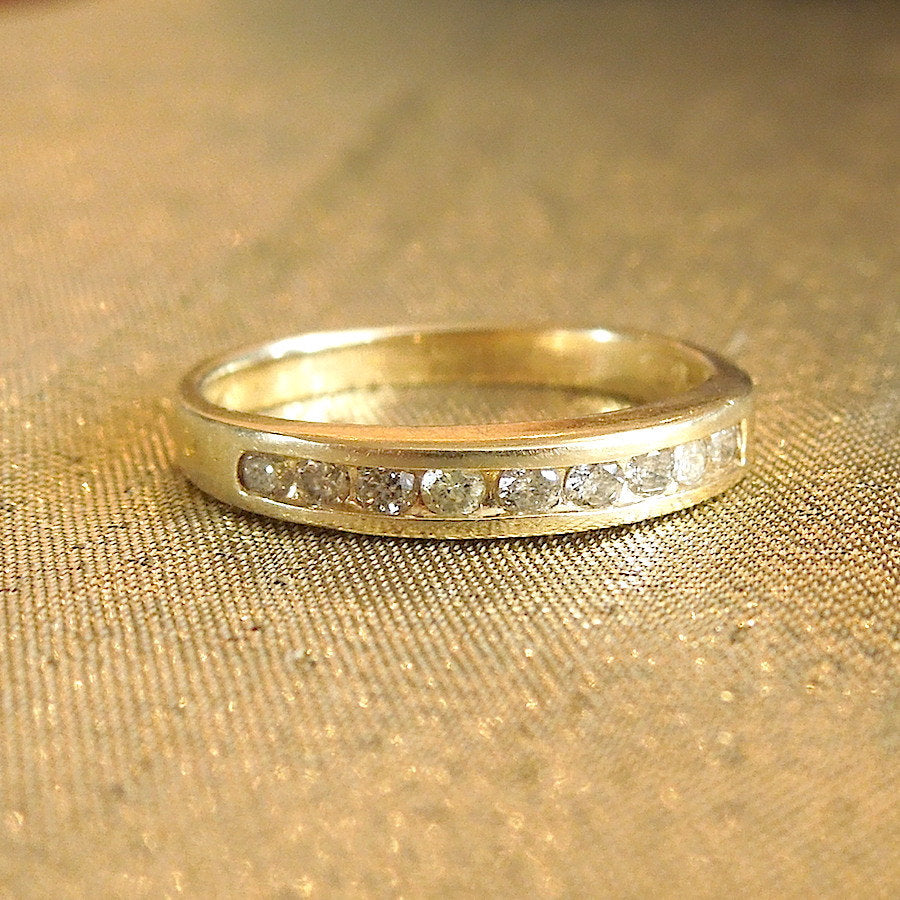 Yellow Gold Channel Set Diamond Anniversary or Wedding Band