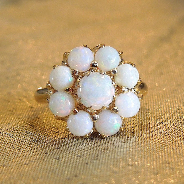 Vintage 1930s White Opal Cluster Ring in Yellow Gold