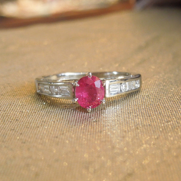 Half Carat Oval Ruby in White Gold Mounting with Diamonds