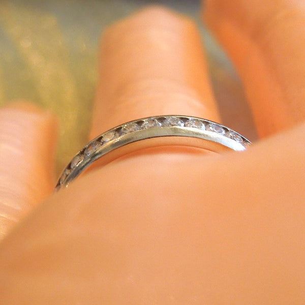 Channel Set Diamond and White Gold Wedding Band