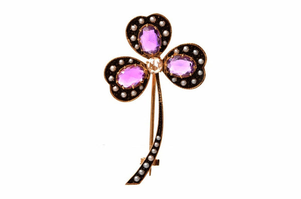 Amethyst, Pearl, and Diamond Three Leaf Clover Gold Pin Brooch