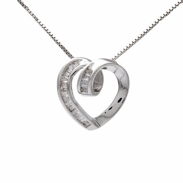 Baguette Diamond and White Gold Heart Pendant