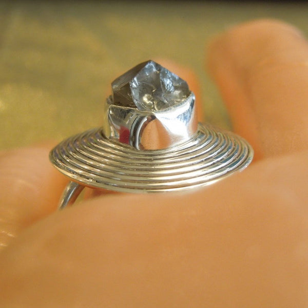 Large Sterling Silver and Herkimer Diamond Ring Disc Ring