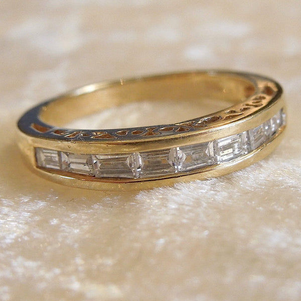 Vintage Yellow Gold and Baguette Diamond Anniversary Band