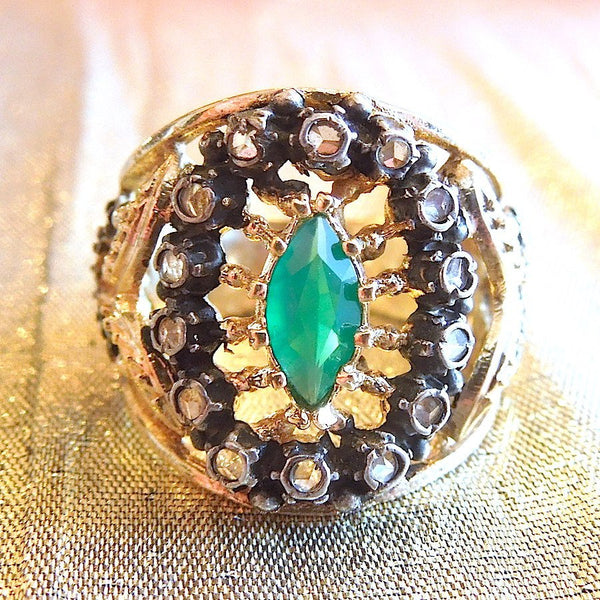 Marquise Chrysoprase or Garnet Portugese/Spanish Vermeil and Sterling Silver Ring